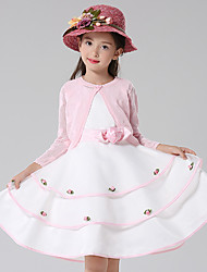 A-line Knee-length Flower Girl Dress - Cotton / Satin / Tulle 3/4 Length Sleeve Jewel with Flower(s)