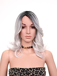 "12"" Protea Hair Synthetic Lace Front Wig Ombre Grey Long Bob Straight Black Silver wig"