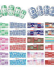 12 Designs Nail Art Stickers Beautiful Christmas Image Geometric Colorful Snowflake Nail Beauty BN241-252