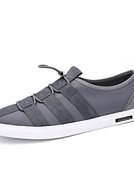 Herren-Flache Schuhe-Lässig-Leinwand PU-Flacher AbsatzSchwarz Grau