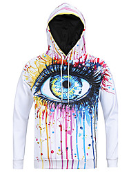 Men's Print Casual / Sport Pocket Hoodie Long Sleeve Big Eye Oil Paiting Hoodie