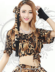 Belly Dance Bottoms Women's Training Spandex Leopard 1 Piece Leopard Belly Dance Short Sleeve Natural Skirt