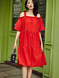 Women's Going out Simple Loose Dress,Solid Strap Knee-length ½ Length Sleeve Red Cotton Summer
