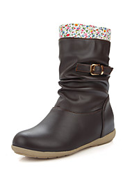 Women's Boots Spring / Fall / Winter Fashion Boots Leatherette Outdoor /Casual Wedge Heel Flower Black / Brown / Beige