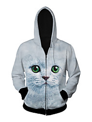3D  Hoodie Long Sleeve Cat Printing Clothing