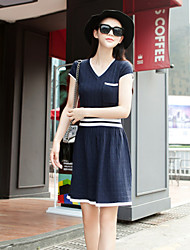 Boutique S Women's Going out Vintage Sweater Dress,Solid V Neck Above Knee Short Sleeve Blue Others Spring