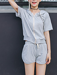 Women's Casual/Daily Simple Summer Set,Solid Round Neck Short Sleeve Black / Gray Rayon Medium