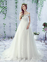 A-line Wedding Dress Court Train Off-the-shoulder Lace / Tulle with Beading / Lace