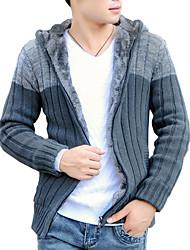 Men's Casual / Work Cardigan,Cotton / Acrylic / Polyester Long Sleeve Black / Gray 916340