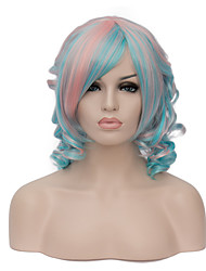 European Vogue Short Sythetic Pink Mix Blue Side Bang Curly  Party Wig For Women