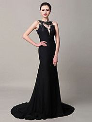 Formal Evening Dress Trumpet / Mermaid Jewel Court Train Chiffon with Appliques
