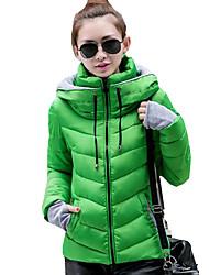 Feminino Padrão Casaco Acolchoado,Moda de Rua Retalhos Casual-Poliéster Algodão Manga Longa Colarinho Chinês