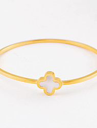 Fashion Women's Fine Four-leaf Clover 316L Stainless Steel Bangle