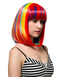 Rainbow colored short hair, fashion wigs.