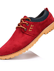 Men's Flats Spring / Fall Round Toe / Flats PU Casual Flat Heel  / Lace-up Black / Red