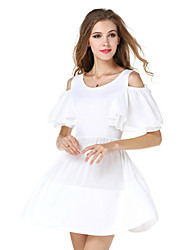 Women's Cut Out|Ruffle Casual/Daily Street chic Loose / Swing Dress,Solid Round Neck Above Knee ½ Length Sleeve White Summer