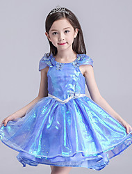 A-line Knee-length Flower Girl Dress - Organza / Satin Short Sleeve Scoop with Bow(s) / Sash / Ribbon