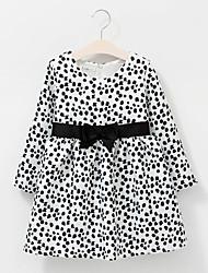 Girl's Cotton Spring/Autumn Bowknot Waist Decoration Leopard Print Long Sleeve Princess Dress