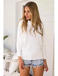 Normal Pullover Femme Décontracté / Quotidien Chic de Rue,Couleur Pleine Blanc Col Roulé Manches Longues Polyester Hiver Fin