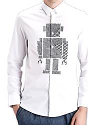 Men's Print Casual / Work / Formal / Sport / Plus Size Shirt,Cotton Long Sleeve Black / White