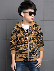 Boy's Cotton Spring/Autumn Fashion Patchwork Cardigan Hoodie Outerwear Long Sleeve Sport Jacket Camouflage Coat