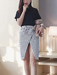 Women's Casual/Daily Simple Summer Set Skirt,Striped Round Neck Short Sleeve Black Rayon Medium