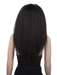 20-24inch Kinky Straight Brazilian virgin remy human hair glueless lace front wigs for African Americans