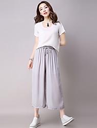 Pantalon Aux femmes Large / Ample / Chino simple Coton / Polyester Non Elastique