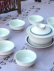 A Complete Set of Ceramic Tea Set With White Snow Kung Fu