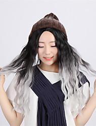 bombshell naturais cinza ombre sintética pequena peruca encaracolado Kylie Jenner ondulado longo de milho peruca resistente ao calor muito