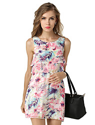 Women's Casual/Daily Street chic Loose / Swing Dress,Floral Round Neck Above Knee Sleeveless White / Multi-color