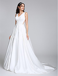 LAN TING BRIDE A-line Wedding Dress See-Through Court Train V-neck Satin with Appliques