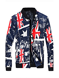 Men'S Long-Sleeved Jacket Slim Stylish Union Jack Zipper Jacket