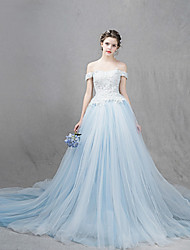 A-line Wedding Dress Chapel Train Off-the-shoulder Tulle with Appliques / Lace