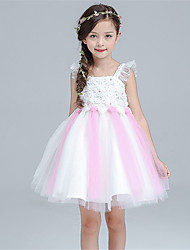 A-line Knee-length Flower Girl Dress - Cotton / Satin / Tulle Sleeveless Straps with Pearl Detailing / Ruffles
