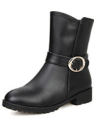 Women's Shoes Winter Motorcycle Boots / Round Toe Boots Dress Low Heel Buckle / Zipper Black / Brown / Beige Others