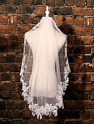 Wedding Veil One-tier Elbow Veils Lace Applique Edge Tulle Lace Ivory