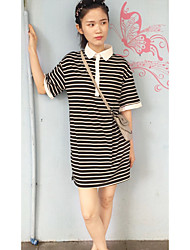 Women's Going out / Cute Black and White Dress,Striped Shirt Collar Above Knee Short Sleeve Black Cotton Summer