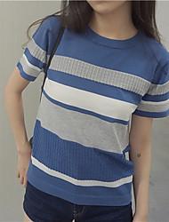 Damen Kurz Pullover-Ausgehen / Lässig/Alltäglich Einfach Gestreift Blau / Beige Rundhalsausschnitt Kurzarm Leinen Sommer Dünn