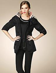 BURDULLY® Feminino Colarinho Chinês 1/2 Comprimento da luva Trench Coat Preta / Cáqui-9061