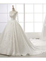 Ball Gown Wedding Dress Chapel Train V-neck Organza with Appliques / Beading