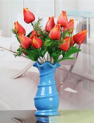 1 1 Ramo Poliéster / Plástico Tulipas Flor de Mesa Flores artificiais 12.9inch/33cm