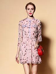 De las mujeres Corte Ancho Vestido Noche Bonito,Estampado Escote Chino Sobre la rodilla Manga Larga Rosa Otro Primavera