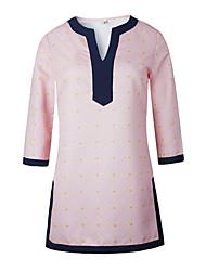 Damen Geometrisch Street Schick Lässig/Alltäglich T-shirt,V-Ausschnitt Alle Saisons ¾-Arm Rosa Baumwolle Mittel