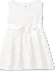 Sheath / Column Knee-length Flower Girl Dress - Lace Sleeveless Jewel with Lace / Sash / Ribbon