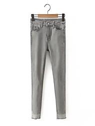 Women's Solid Blue / Gray Jeans Pants,Simple