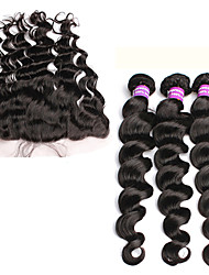 "13x4 Peruvian Loose Wave Lace Frontal Closure With Bundles 6A Peruvian Virgin Hair With Lace Frontal Closure 10""-30"""