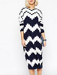 Damen Lang Pullover-Ausgehen Street Schick Geometrisch Weiß / Schwarz Rundhalsausschnitt Langarm Baumwolle Herbst Mittel Mikro-elastisch