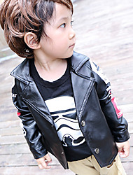 Boy's Cotton Spring/Autumn Fashion PU Cartoon Print Outerwear Long Sleeve Jacket Sport Coat