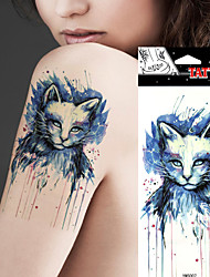 5 Pcs Waterproof Beauty Blue Colored Drawing Cat Picture Design Temporary Tattoo Stickers
